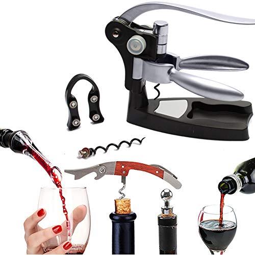 Ohomr Apribottiglie Vino Coniglio Set Cavatappi Kit Apribottiglie con Taglierina per Foglio Tappo per Vino Spirale Extra 5PCS