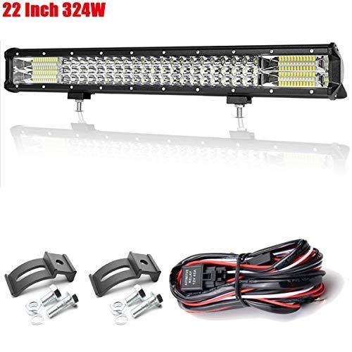 Willpower Barra de luz LED de 324 W Combo de inundación puntual de 22 pulgadas Luces de trabajo de conducción todoterreno con niebla LED con arnés de cableado para embarcación SUV ATV