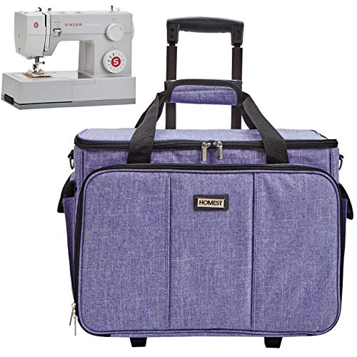 HOMEST Deluxe Sewing Machine Case on Wheels, Rolling Trolley Tote with Shoulder Strap and Strong Carry Handles, Compatible with Singer & Brother Machine, Dark Purple (Patent Design)