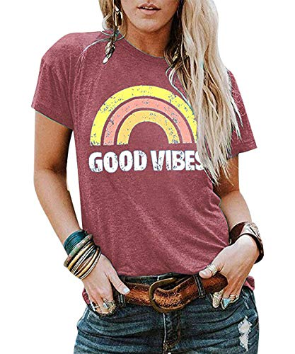 JINTING Good Vibes Graphic Tee Shirt for Women Teen Girls Graphic Short Sleeve Casual T Shirt Top with Funny Sayings (M, Pink)