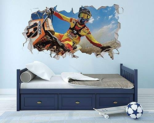 HUJL Wall Sticker Off-Road Wall Hole 3D Decal Vinyl Sticker Decoration Room Smashed
