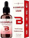Organic Vitamin B Complex Liquid Drops with Fast Absorption - Sublingual Drops Supplement - Vitamins B1, B2, B3, B6, B7, B9 & Methyl B12 for Men, Women & Kids - Vegan Berry Flavor 2oz