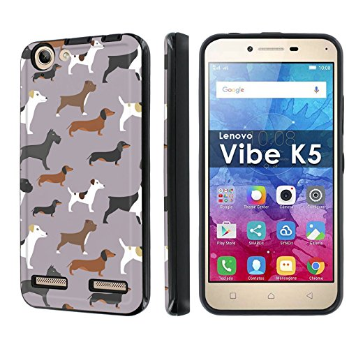 [NakedShield] [Black/Black] Dual Armor Shockproof Case - [Dogs Pattern] Compatible for Lenovo Vibe K5 [5' Screen]