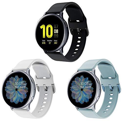 Syxinn Compatible con Galaxy Watch Active/Active2 40mm 44mm Correa de Reloj 20mm Silicona Banda de Reemplazo Pulsera para Galaxy Watch 3 41mm/Galaxy Watch 42mm/Gear Sport/Gear S2 Classic/Ticwatch 2