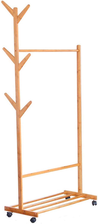 ZXW Coat Rack- Simple Creative Bamboo Coat Rack, Living Room Bedroom Mobile Hanger Storage Rack (color   Wood color, Size   60x176cm)