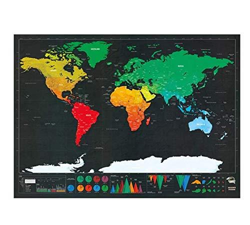 Mappa Del Mondo NowPoster Da Grattare, Cartina Geografica Planisfero Da Parete, Mappamondo Politico Per Diario Di Viaggio, Oro 82 x 59 cm