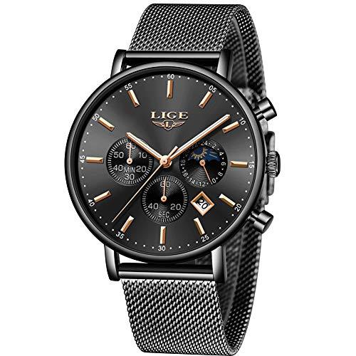 LIGE Herren Uhren Sports Wasserdicht Analoger Quarz Fashion Casual Schwarz Edelstahl Mesh Armband 9894D