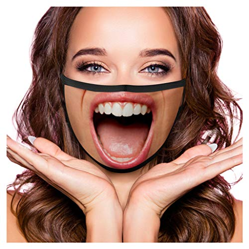 Unisex Mustache Funny Face_Mask Washable_Reusable Custom Printed Comfortable Face_Masks for Coronàvịrụs Protectịon Dust_proof Face_Cover, High Filtration and Ventilation Security (A 1PC)
