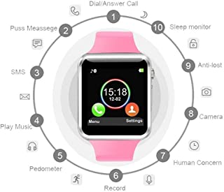 Pralion A1 Smart Watch Phone Camera SIM Card Pedometer Men Women Sport Smartwatch for Android (Pink)