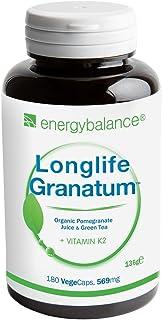Vitamina K2 MK7 569mg | Longlife Granatum No. 1 | con té verde | Antioxidante natural | Sin OGM | Sin Gluten | Vegano | Sin aditivos | 180 Cápsulas vegetales