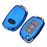 TPU+PC Car Remote Key Case Cover Holder For Hyundai ix25 ix35 i10 i20 i30 Tucson Sonata Santa Fe Sport Elantra Creta Verna Blueonlycase