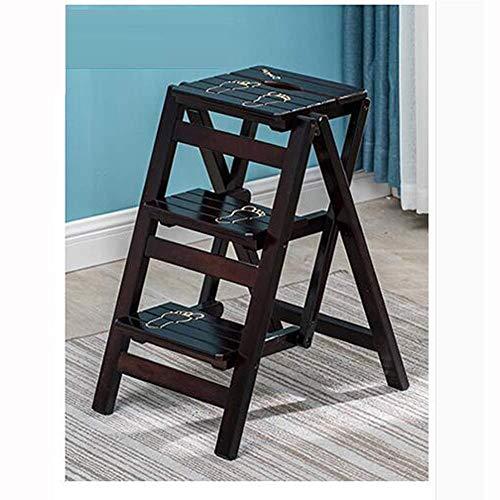 YJLL massief houten ladder, inklapbaar, multifunctioneel, opstapkruk, trapladder, huishoudladder, dubbele inzet