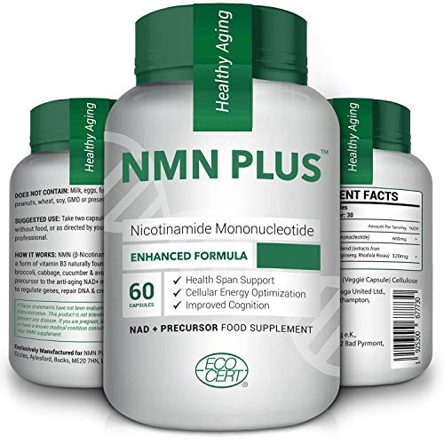 Hemp NMN Capsules, 300mg Per Serving, Naturally Boost NAD+ Levels for Mental Performance & Anti Aging, 60 Capsules Nicotinamide Mononucleotide Supplement
