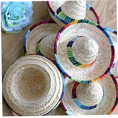3pcs Mini Sombrero Hüte Stroh Design Mexikanische Hat Desktop Partyzubehör Dekoration Favors (zufällige Farbe)
