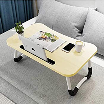 Widousy Laptop Bed Table Breakfast Tray with Foldable Legs Portable Lap Standing Desk Notebook Stand Reading Holder for Couch Sofa Floor Kids - Standard Size(White)