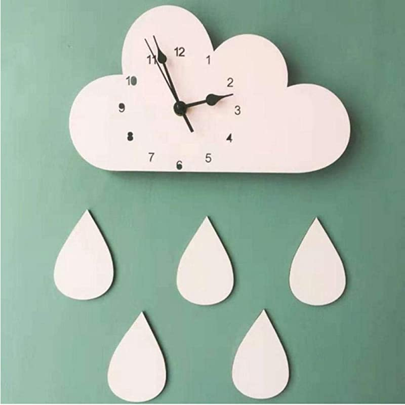 TBACE Wall Clock 2816Cm Nordic Wooden Cloud Raindrop Shaped Wall Clock Kids Room Decor Baby Gender Neutral Wall Clock Nursery Baby Gift 1Piece A2