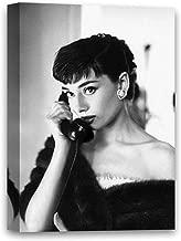 "Funny Ugly Christmas Sweater Canvas Stylish Photo Portrait Breakfast at Tiffany's Movie Star Audrey Hepburn Digital Artwork 8"" x 12"""