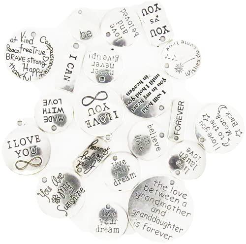 (b.m.b雑貨) コイン風 打刻 言葉チャーム 30個 多種類 合金 カン付き タグ プレート 素材 アンティーク