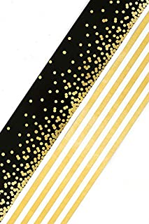 Renewing Minds Glimmer of Gold Confetti and Stripes Wide Double-Sided Border Trim, Black/Gold/White, Pack of Twelve 38 inch Strips