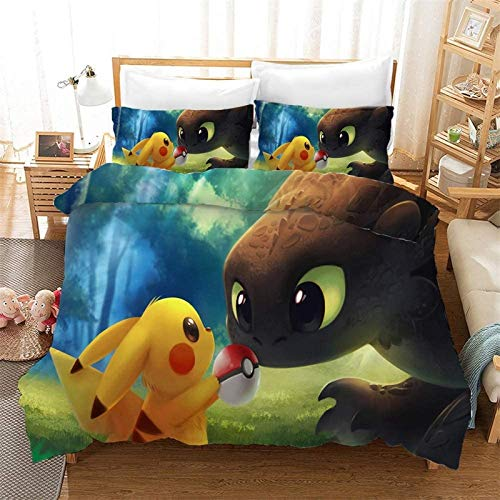 POMJK Pokemon bed linen set, Pokemon duvet cover, 100% microfibre, 3D print anime duvet cover, 2 pillowcases (no filler) (A01, single 140 x 210 cm + (80 x 80 cm) x 2).