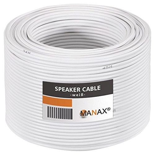 Manax - Cavo per altoparlante 2 x 1,50 mm2 CCA (cavo cassa/audio) 2 x 1,50 mm2. 50m 1,50mm² - 1 Ring bianco