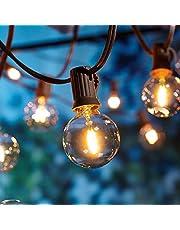 G40 Led-lichtsnoer, waterdicht lichtsnoer met 12 G40-ledlampen, warm wit, geschikt voor binnen en buiten, perfect voor binnenplaatsen, tuinen, huizen, bruiloften, feesten