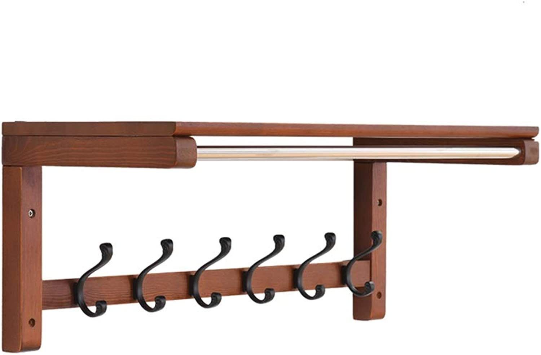 Feifei Coat Rack Hook, Solid Wood, Wall Mounted with Storage Shelf, Wall Shelf, Multifunction, for Entryway, Hallway, Bedroom, Bathroom, Living Room (Size   65.5  23.5  27.3cm)