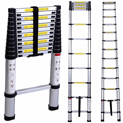 Generic En131 12.5ft Aluminum Telescoping Telescopic Extension Ladder Tall Multi Purpose
