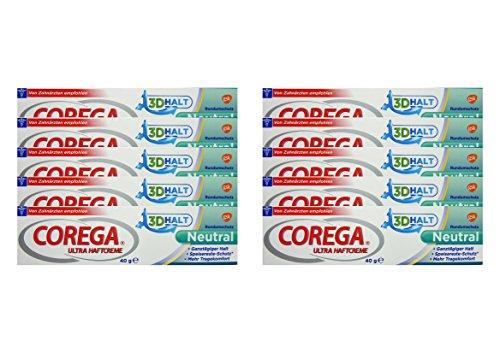 10x Corega Ultra Haftcreme 3D Halt Neutral á 40g Rundumschutz