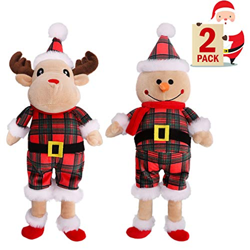 KOOLTAIL Christmas Dog Squeaky Toys Set 2PACK Reindeer & Snowman Pet Chew Toys with Squeaker Dog Plush Toys for Playing Fun