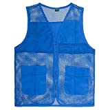 TOPTIE Adult Mesh Zipper Supermarket Vest Team Volunteer Uniform Vest-Blue-M
