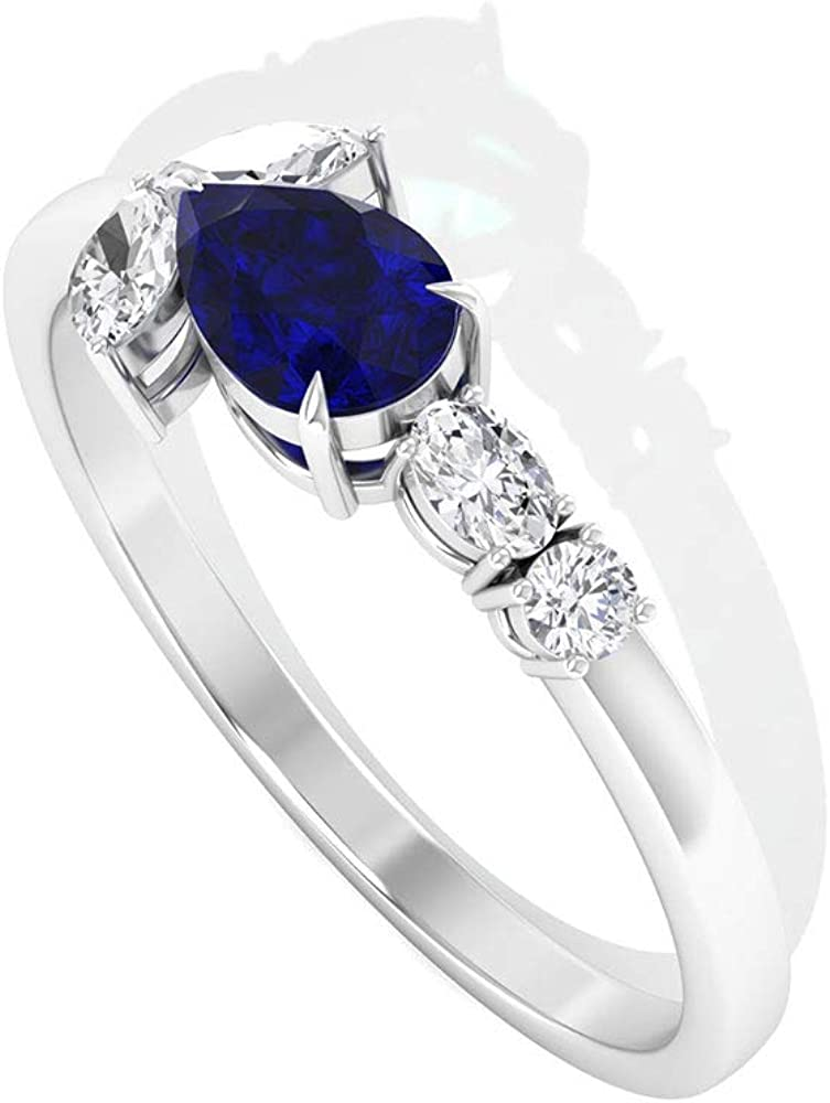 0.5 Ct Pear Shape Blue Sapphire Solitaire Ring, 0.23 Ct Marquise Shape Diamond SGL Certified Ring, Oval Shape Diamond HI-SI Color Clarity Wedding Ring, 14K Gold