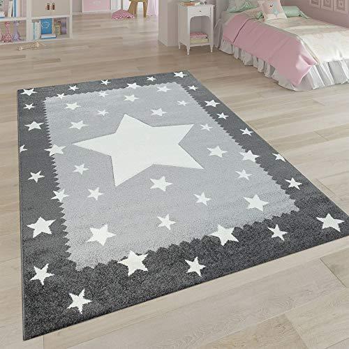 Paco Home Kinderteppich Grau Weiß Kinderzimmer 3-D Bordüre Sternen Design Weich Robust, Grösse:160x230 cm