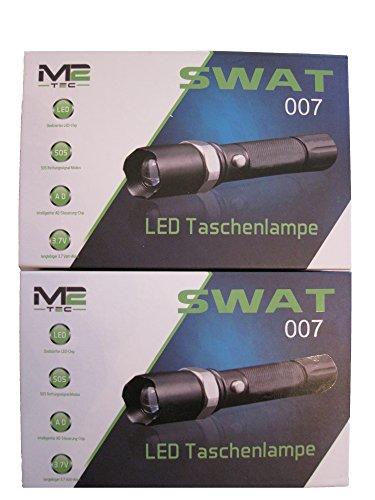 2 Stk. Swat LED Cree Taschenlampe + 4x 8800mAh Akku + 2x USB Ladekabel Zoom Light