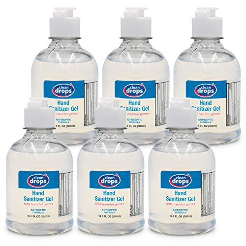 Clean Drops Hand Sanitizer Gel 10.1 Oz (Pack of 6 - Total 60.6 Oz) — 70% Alcohol, Kills 99.99% Germs and Bacteria — Fragrance Free — Will Not Dry Out Hands and Irritate Skin — Ideal for Adults & Kids