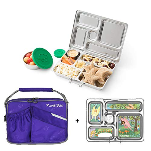 PlanetBox ROVER Eco-Friendly Stainless Steel Bento Lunch Box with 5 Compartments for Adults and Kids - Power Purple Carry Bag with Faries Magnets