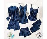 HTYA Women Silk 5 Piece Pajama Set, Silky Pajama Set For Women Blue XL