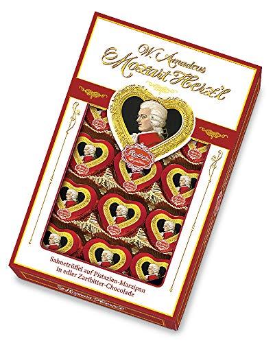 Reber Mozart Herz'l, Zartbitter-Schokolade, Pistazien-Marzipan, Sahne-Trüffel, Tolles Geschenk, 15er-Packung