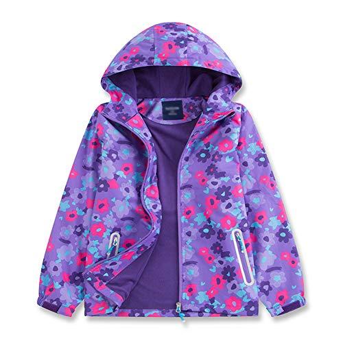 G-Kids Kinder Mädchen Wasserdicht Jacke Regenjacke mit Fleecefütterung Warm Winddicht Atmungsaktiv Wanderjacke Übergangsjacke Outdoorjacke Lila 140