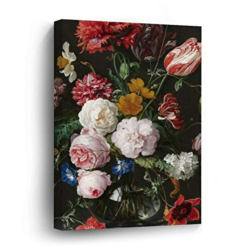 Jan Davidsz. De Heem Still Life with Flowers Canvas Picture Painting Artwork Wall Art Poto Framed Canvas Prints for Bedroom Living Room Home Decoration, Ready to Hanging 16'x16'