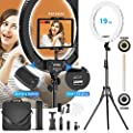 IVISII Ring Light with Stand and ipad & Phone Holder,Makeup LED Ring Lights 60W Bi-Color 3000K-5800K CRI?97 & TLCI ?99 for YouTube, Facebook Live,Twitch and Blogging (Black)