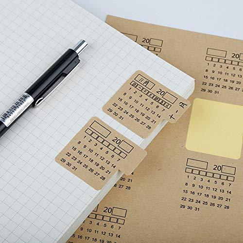 Oulensy 4 Hojas 2020 Papel Kraft Manuscrita Calendario Notebook Etiqueta Autoadhesiva De La Etiqueta Engomada Calendario Organizador De Kawaii Papelería