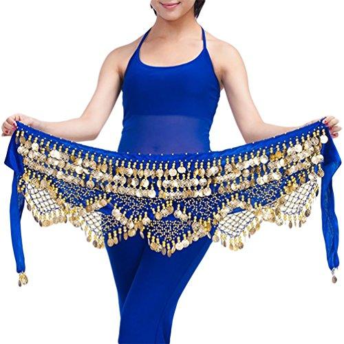 YiJee Cintura In Sciarpa per Danza del Ventre Orientale 320 Monete D'Oro Zaffiro