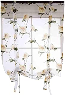 charmsamx 1 Panel Voile Sheer Curtains Watercolor Flower Leaves Printed Curtain Drapes Rod Pocket Sheer Voile Drapes 31 Inch Long and 39 Inch Wide Window Treatment Panels Natural Light Flow (Yellow)