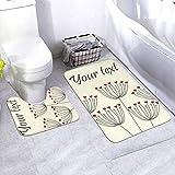 N/B Cute Unique Floral Card with Dandelions and Hearts Vector Image Bad rutschfeste Bodenmatte cuarto de baño Antirutsch-Polster esterillas para Innendekorationen Set 2 unidades Angepasst