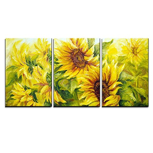 wall26 - 3 Piece Canvas Wall Art - Sunflowers in Oil Painting Style - Modern Home Art Stretched and Framed Ready to Hang - 24