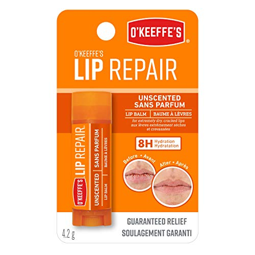 O'Keeffe's Unscented Lip Repair Lip Balm for Dry, Cracked Lips, Stick