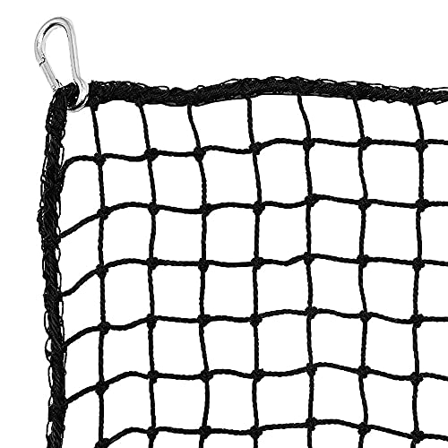 Heavy Duty Golf Netting High Impact Practice Barrier Net. Ball Containment for Hitting, Driving and Chipping. 10x15 Black Netting with 4 Carabiners
