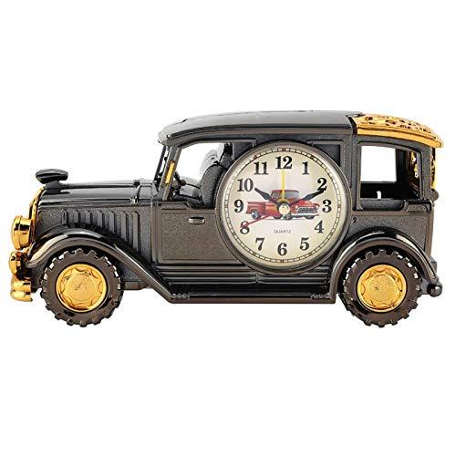 AUNMAS Reloj Despertador clásico, Reloj Despertador, portalápices Creativo novedoso Multiusos con función de Despertador de repetición para Oficina Familiar(Ebony)