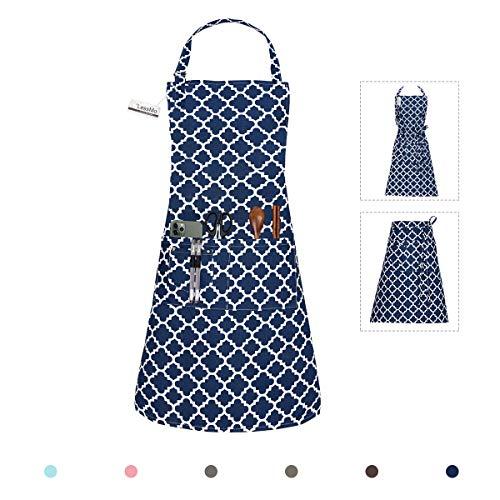 LessMo Schürze, Grillschürze und Kochschürze in Profiqualität mit verstellbarem Nackenriemen Und Mit Zwei Taschen, aus 100% Baumwolle 70 x 85 cm (Blau, 1 Pcs)